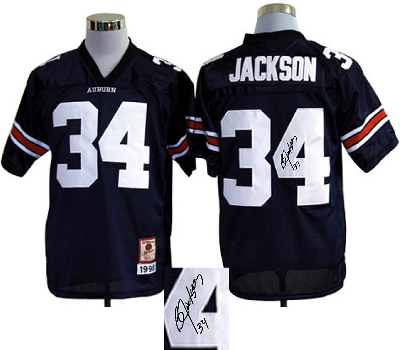 NCAA Auburn Tigers #34 Bo Jackson Blue signature jerseys