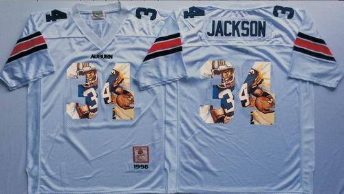 NCAA Auburn Tigers #34 Bo Jackson white fashion jerseys
