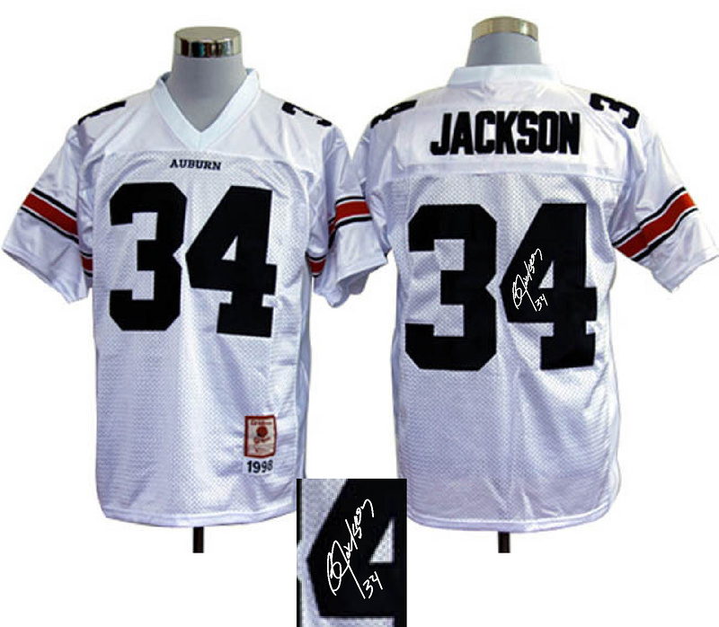 NCAA Auburn Tigers #34 Bo Jackson white signature jerseys