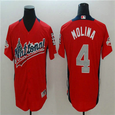 National League #4 Yadier Molina Red 2018 MLB All Star Game Home Run Derby Jersey