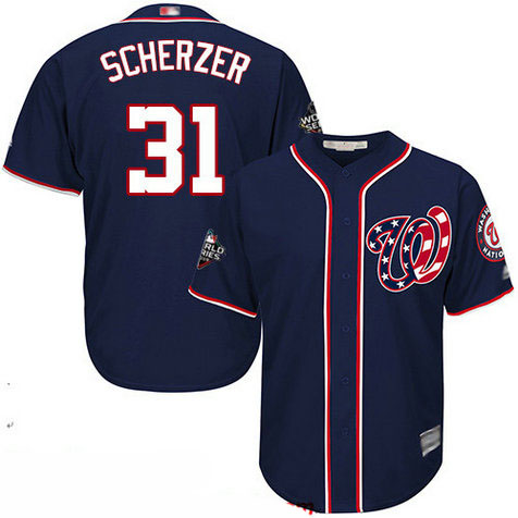 Nationals #31 Max Scherzer Blue Cool Base 2019 World Series Bound Stitched Youth Baseball Jersey