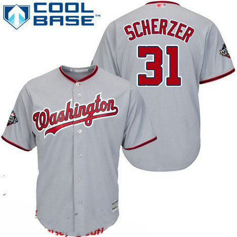 Nationals #31 Max Scherzer Grey Cool Base 2019 World Series Bound Stitched Youth Baseball Jersey