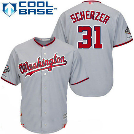 Nationals #31 Max Scherzer Grey Cool Base 2019 World Series Champions Stitched Youth Baseball Jersey