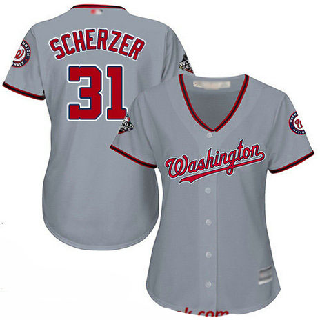 Nationals #31 Max Scherzer Grey Road 2019 World Series Bound Women's Stitched Baseball Jersey