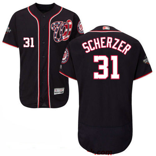 Nationals #31 Max Scherzer Navy Blue Flexbase Authentic Collection 2019 World Series Bound Stitched Baseball Jersey