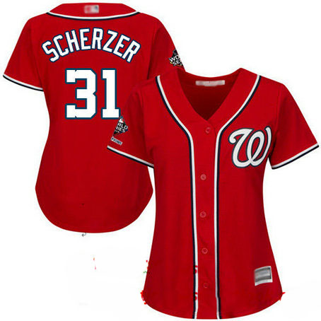 Nationals #31 Max Scherzer Red Alternate 2019 World Series Champions Women's Stitched Baseball Jersey