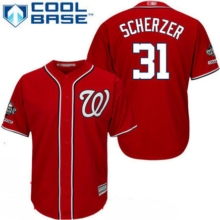 Nationals #31 Max Scherzer Red Cool Base 2019 World Series Champions Stitched Youth Baseball Jersey