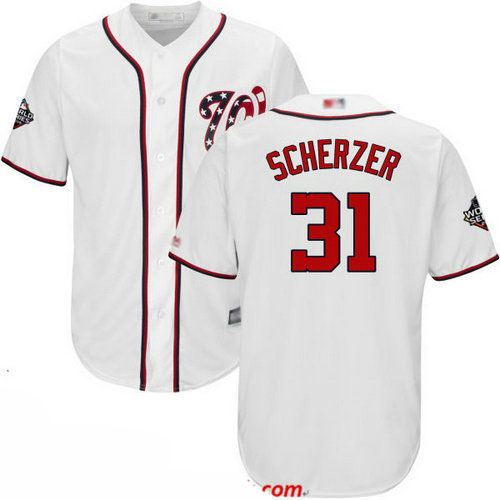 Nationals #31 Max Scherzer White Cool Base 2019 World Series Bound Stitched Youth Baseball Jersey