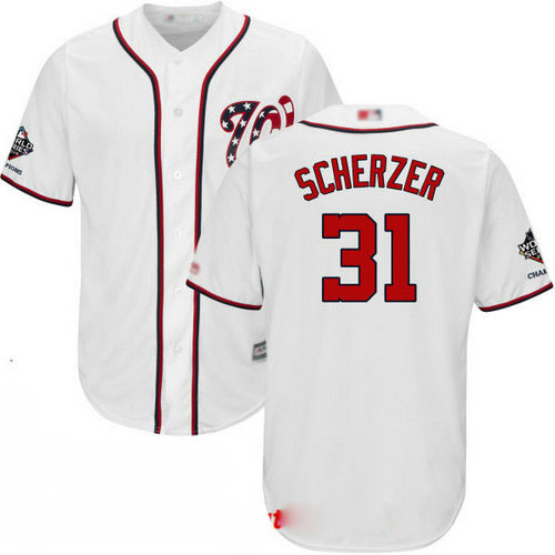Nationals #31 Max Scherzer White Cool Base 2019 World Series Champions Stitched Youth Baseball Jersey