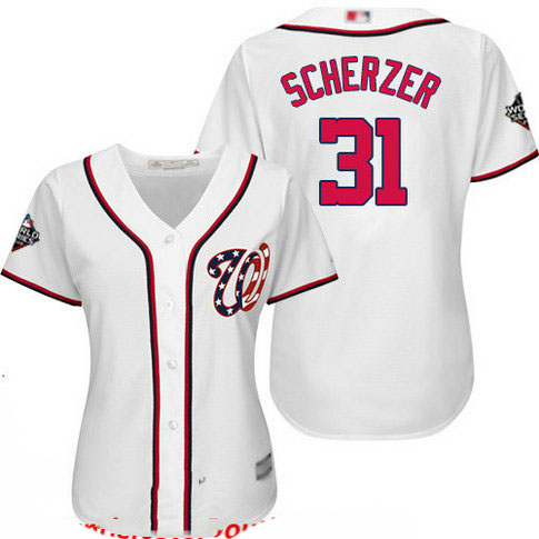 Nationals #31 Max Scherzer White Home 2019 World Series Bound Women's Stitched Baseball Jersey