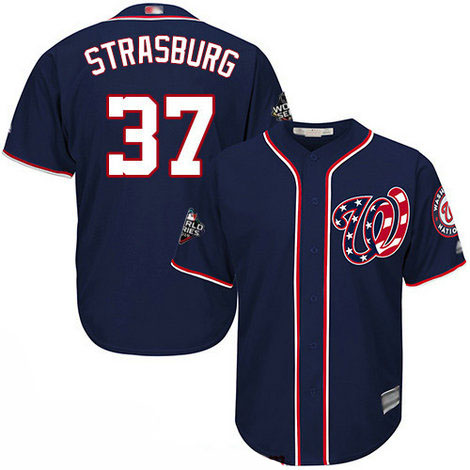 Nationals #37 Stephen Strasburg Blue Cool Base 2019 World Series Bound Stitched Youth Baseball Jersey