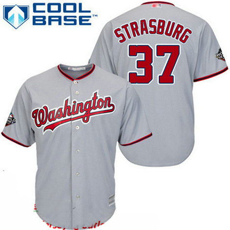 Nationals #37 Stephen Strasburg Grey Cool Base 2019 World Series Bound Stitched Youth Baseball Jersey