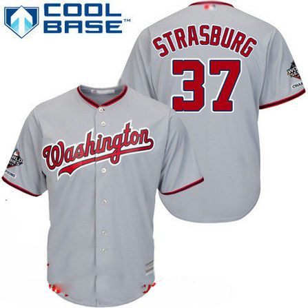 Nationals #37 Stephen Strasburg Grey Cool Base 2019 World Series Champions Stitched Youth Baseball Jersey