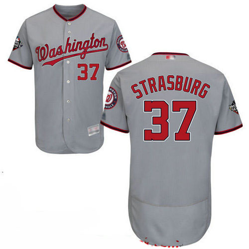 Nationals #37 Stephen Strasburg Grey Flexbase Authentic Collection 2019 World Series Bound Stitched Baseball Jersey