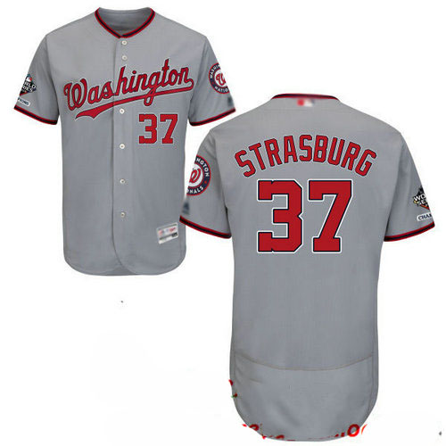 Nationals #37 Stephen Strasburg Grey Flexbase Authentic Collection 2019 World Series Champions Stitched Baseball Jersey