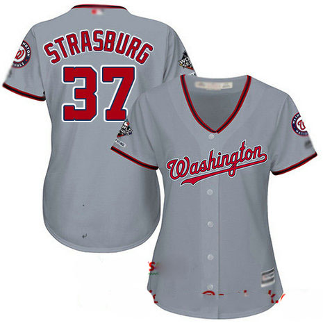 Nationals #37 Stephen Strasburg Grey Road 2019 World Series Champions Women's Stitched Baseball Jersey