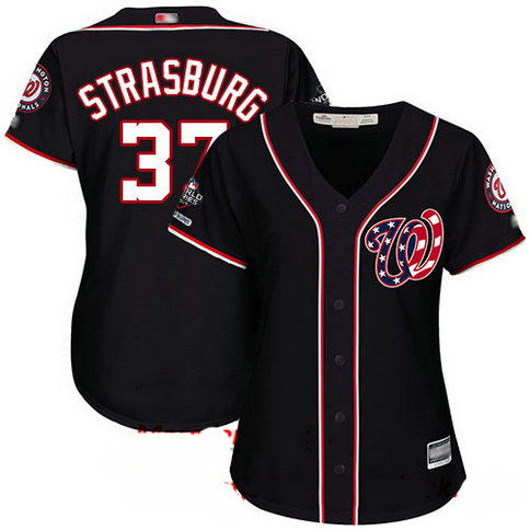 Nationals #37 Stephen Strasburg Navy Blue Alternate 2019 World Series Champions Women's Stitched Baseball Jersey