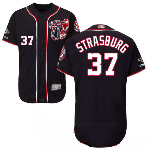 Nationals #37 Stephen Strasburg Navy Blue Flexbase Authentic Collection 2019 World Series Champions Stitched Baseball Jersey