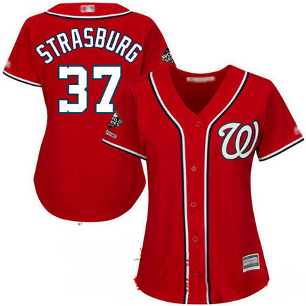 Nationals #37 Stephen Strasburg Red Alternate 2019 World Series Champions Women's Stitched Baseball Jersey