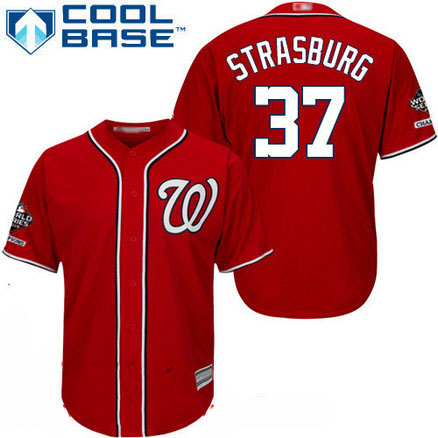 Nationals #37 Stephen Strasburg Red Cool Base 2019 World Series Champions Stitched Youth Baseball Jersey