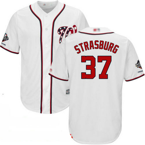 Nationals #37 Stephen Strasburg White Cool Base 2019 World Series Champions Stitched Youth Baseball Jersey