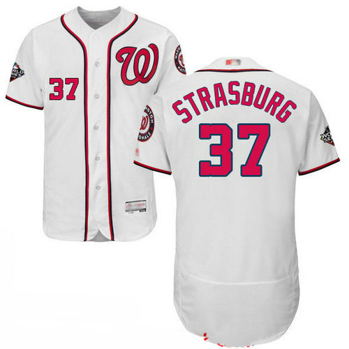 Nationals #37 Stephen Strasburg White Flexbase Authentic Collection 2019 World Series Bound Stitched Baseball Jersey