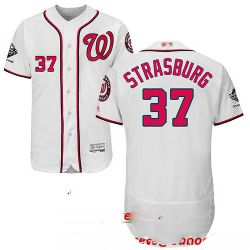 Nationals #37 Stephen Strasburg White Flexbase Authentic Collection 2019 World Series Champions Stitched Baseball Jersey