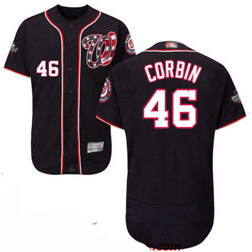 Nationals #46 Patrick Corbin Navy Blue Flexbase Authentic Collection 2019 World Series Bound Stitched Baseball Jersey