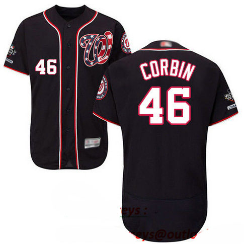 Nationals #46 Patrick Corbin Navy Blue Flexbase Authentic Collection 2019 World Series Champions Stitched Baseball Jersey