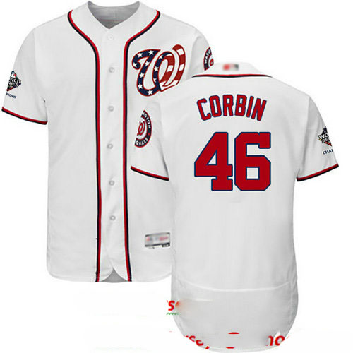 Nationals #46 Patrick Corbin White Flexbase Authentic Collection 2019 World Series Champions Stitched Baseball Jersey