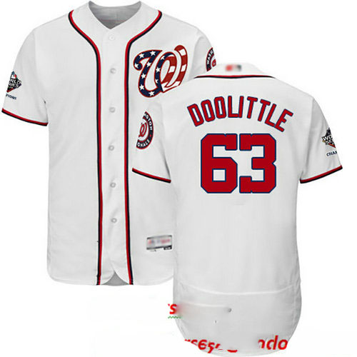 Nationals #63 Sean Doolittle White Flexbase Authentic Collection 2019 World Series Champions Stitched Baseball Jersey