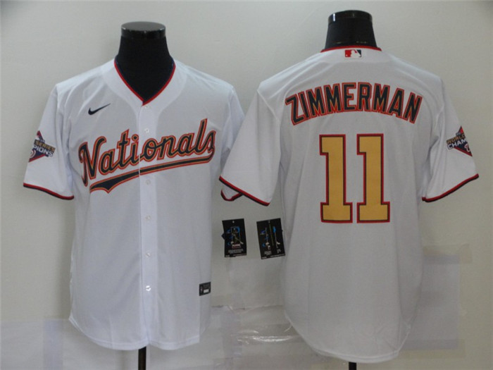 Nationals 11 Ryan Zimmerman White Gold Nike 2020 Gold Program Cool Base Jersey