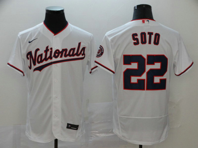 Nationals 22 Juan Soto White Nike 2020 Flexbase Jersey