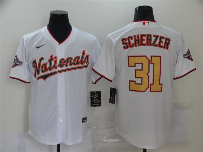 Nationals 31 Max Scherzer White Gold Nike 2020 Gold Program Cool Base Jersey