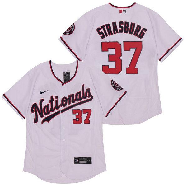 Nationals 37 Stephen Strasburg White Nike 2020 Flexbase Jersey
