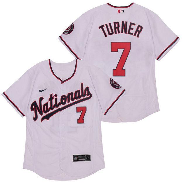 Nationals 7 Trea Turner White Nike 2020 Flexbase Jersey