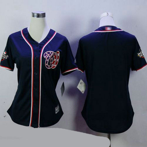 Nationals Blank Navy Blue Alternate 2 2019 World Series Bound Women's Stitched Baseball Jersey