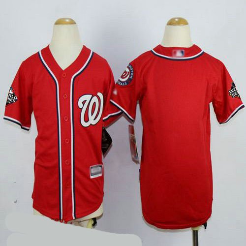 Nationals Blank Red Cool Base 2019 World Series Bound Stitched Youth Baseball Jersey