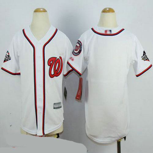 Nationals Blank White Cool Base 2019 World Series Bound Stitched Youth Baseball Jersey