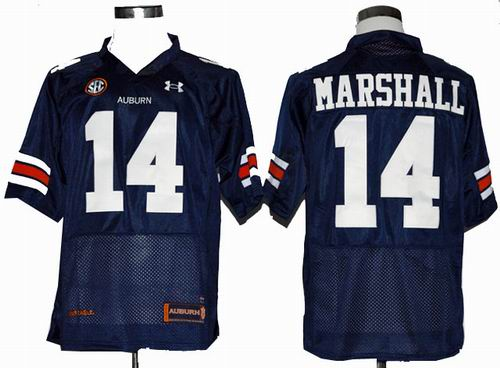 Ncaa Auburn Tigers Nick Marshall 14 Navy Blue Football Authentic Jerseys