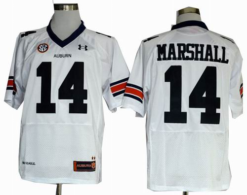 Ncaa Auburn Tigers Nick Marshall 14 White Football Authentic Jerseys