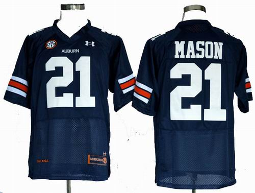 Ncaa Auburn Tigers Tre Mason 21 Navy Blue Football Authentic Jerseys