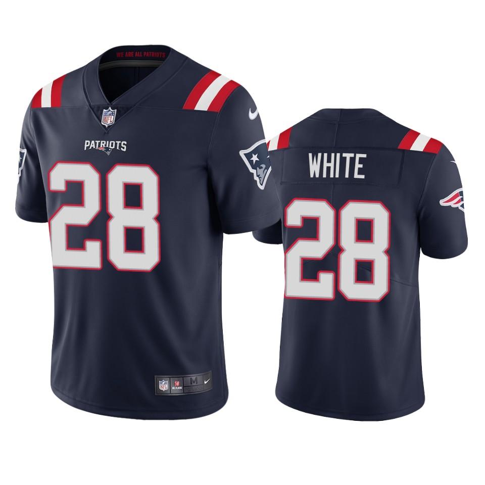 New England Patriots #28 James White Men's Nike Navy 2020 Vapor Limited Jersey
