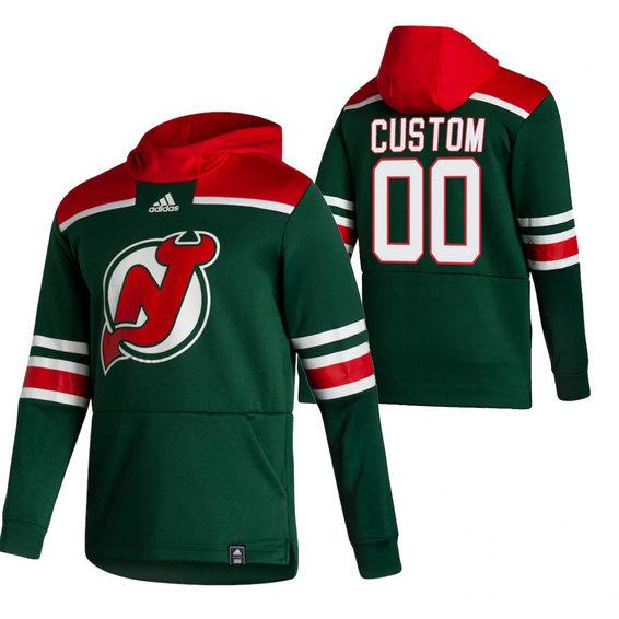 New Jersey Devils Custom Adidas Reverse Retro Pullover Hoodie Green