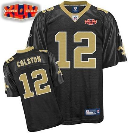 New Orleans Saints #12 Marques Colston Super Bowl XLIV Team Jersey black