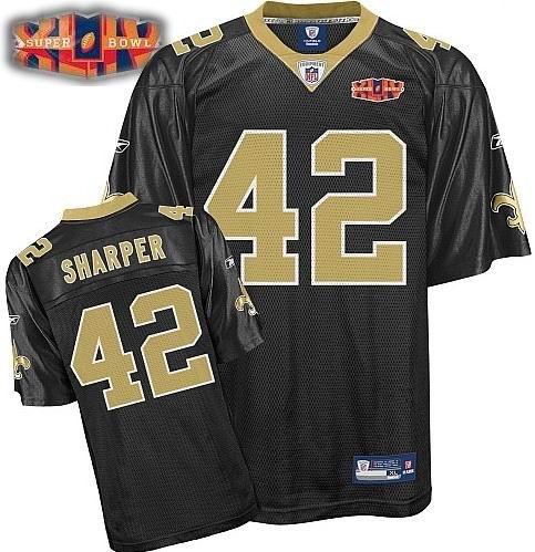 New Orleans Saints #42 Darren Sharper Super Bowl XLIV Team Color black Jersey