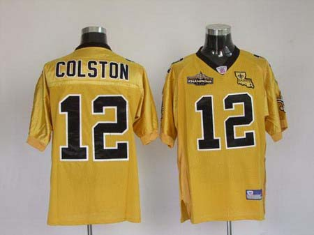 New Orleans Saints 12 Colston Golden Jerseys Champions patch