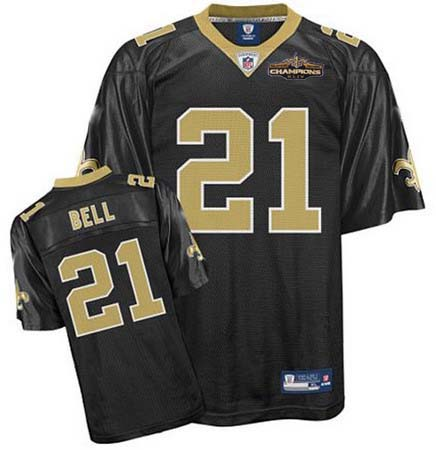 New Orleans Saints 21 Mike Bell black Jersey Champions patch