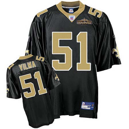 New Orleans Saints 51 VILMA black Jerseys Champions patch