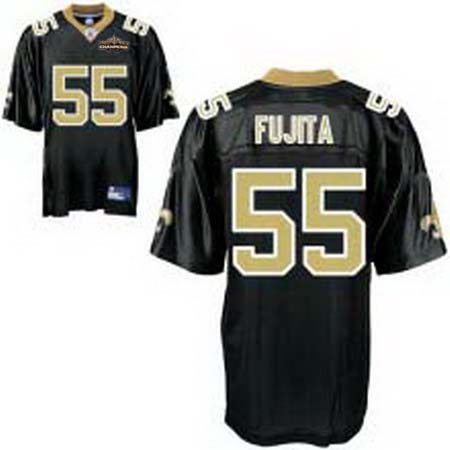 New Orleans Saints 55 Scott Fujita black Champions patch